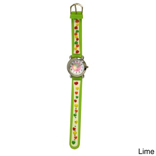 Olivia Pratt Candy Hearts Silicone One Size Adjustable Kids Watch (Option: Lime)
