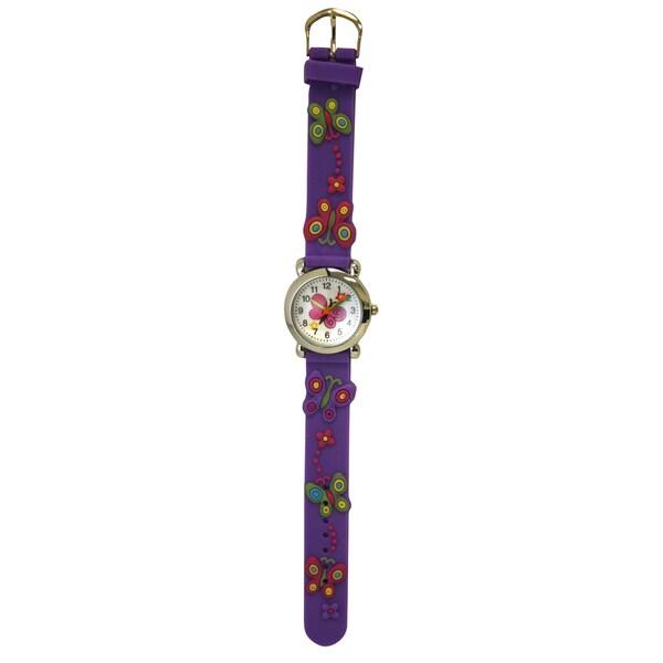 Olivia Pratt Kids' Floating Butterflies Silicone One Size Watch - Purple. Opens flyout.