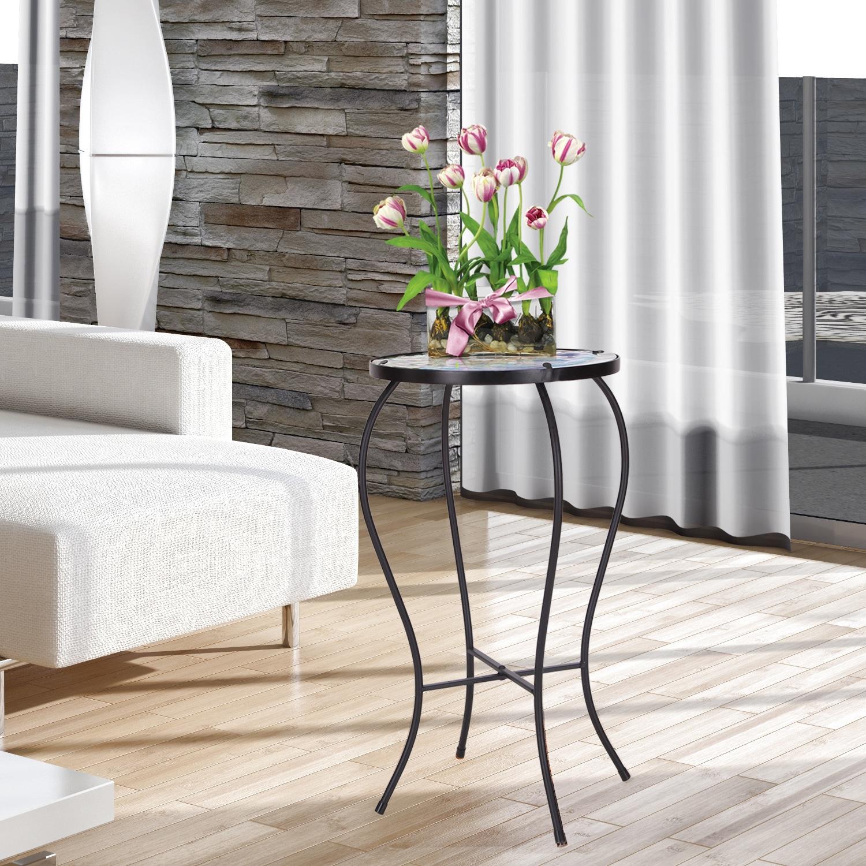 Adeco Contemporary Round Accent Table Plant Stand (Non-fo...