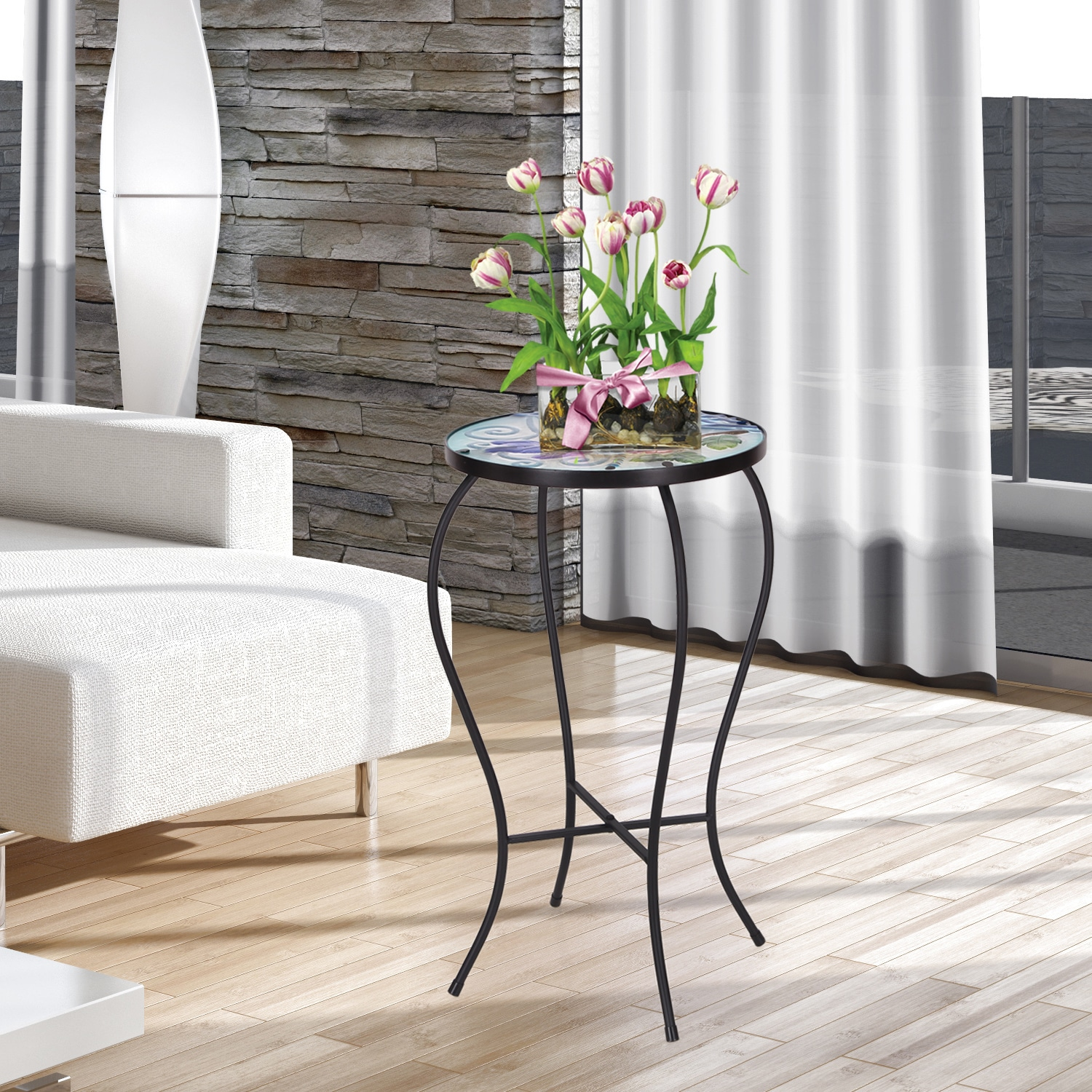 Adeco Contemporary Round Accent Table Plant Stand (Foldab...