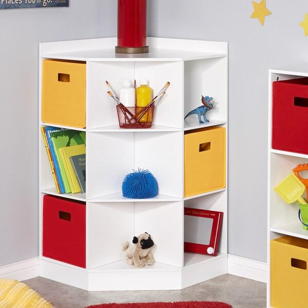 Soft White Kids Toy Chest Wood Box Bin Storage Organizer: RiverRidge® Kids 6-Cubby, 3-Shelf Corner Cabinet