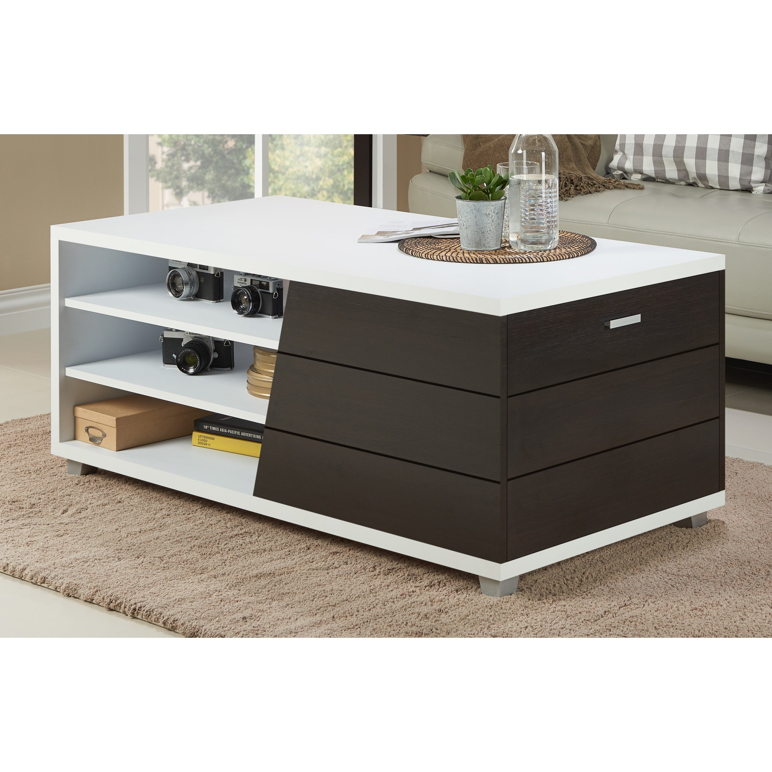 Expresso Coffee Table.Sorenson Contemporary White Multi Shelf 1 Drawer Coffee Table By Foa