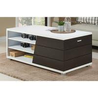 Furniture of America Sorenson Contemporary Two-Tone Multi-Shelf White/Espresso Coffee Table