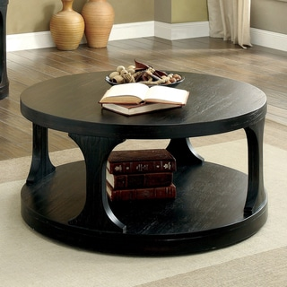 Furniture of America Nela Contemporary Black Solid Wood Coffee Table