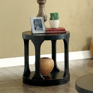 Furniture of America Nela Transitional Black Solid Wood End Table
