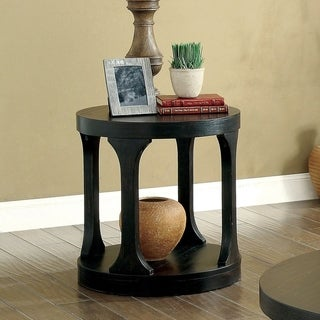 Furniture of America Nela Contemporary Antique Black Round End Table