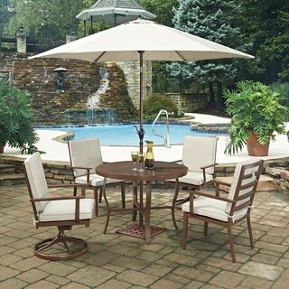 Key West 7 Pc. Round Outdoor Dining Table& 2 Swivel Rocking Chairs, 2 Chair Chairs, with Umbrella & Base by Home Styles