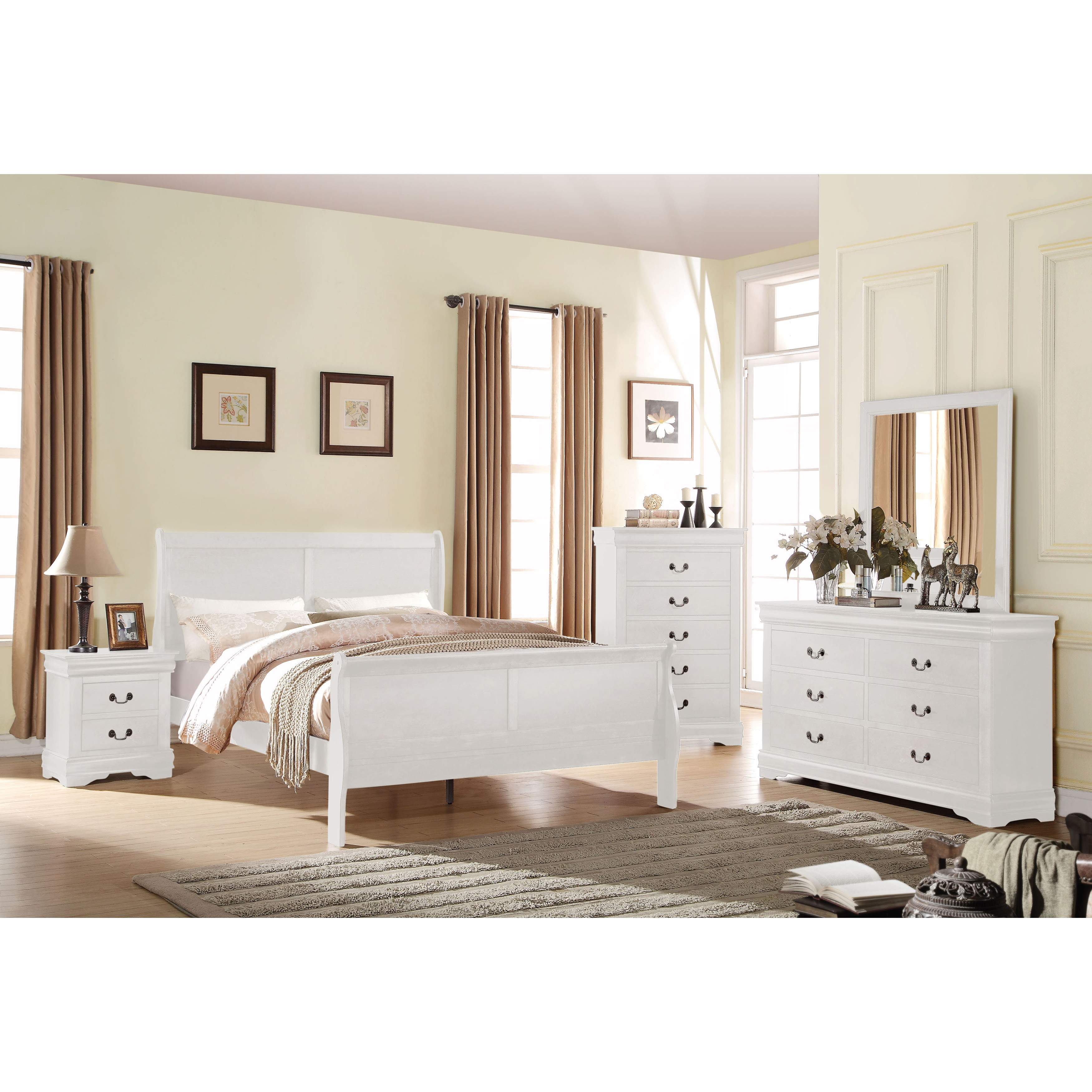Acme Furniture Louis Philippe White 4 Piece Sleigh Bedroom Set On Sale Overstock 14229930 Twin