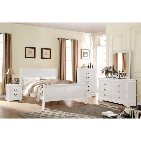acme furniture bedroom sets. Acme Furniture Louis Philippe White 4 Piece Sleigh Bedroom Set
