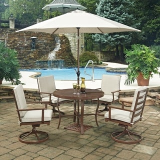 Key West 7 Pc. Round Outdoor Dining Table& 4 Swivel Rocking Chairs, with Umbrella & Base by Home Styles