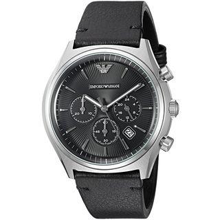 Emporio Armani Men's AR1975 'Dress' Chronograph Black Leather Watch