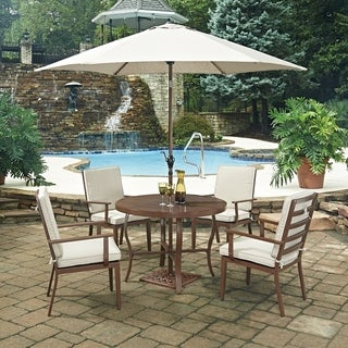 Key West 7 Pc. Round Outdoor Dining Table& 4 Chairs, with Umbrella & Base by Home Styles