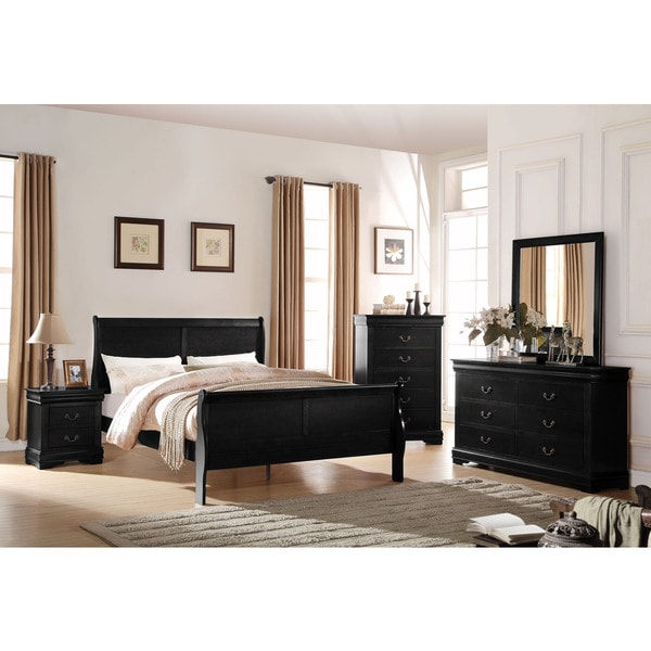 Acme Furniture Louis Philippe Black 4 Piece Sleigh Bedroom Set