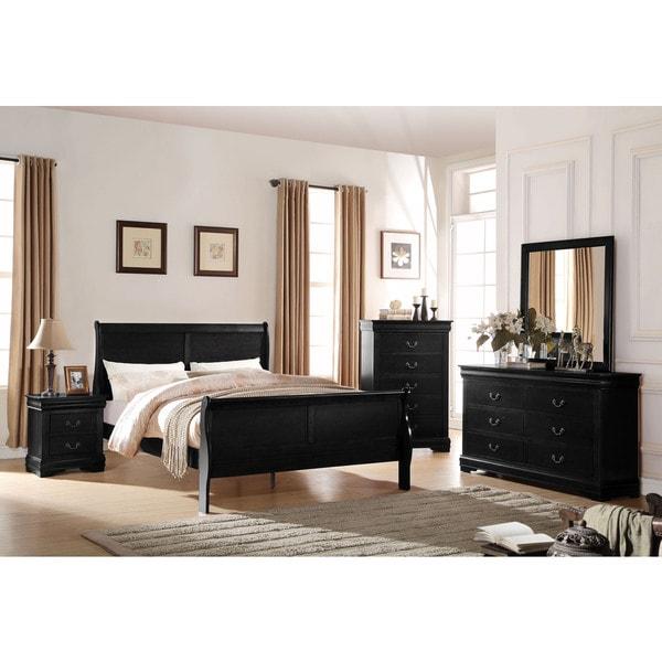 Shop Acme Furniture Louis Philippe Black 4 Piece Sleigh