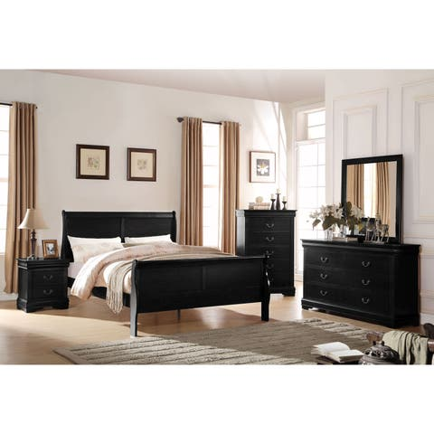 Acme Furniture Louis Philippe Black 4-Piece Sleigh Bedroom Set