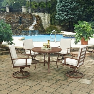 Key West 5 Pc. Round Outdoor Dining Table& 4 Swivel Rocking Chairs by Home Styles