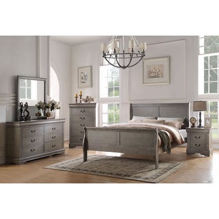 Acme Furniture Louis Philippe Antique Grey 4-Piece Sleigh Bedroom Set