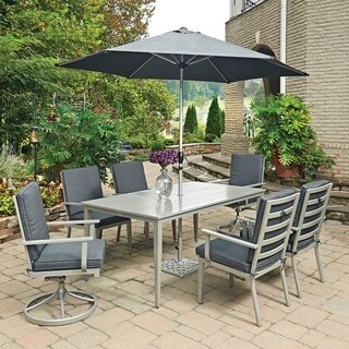 South Beach 9 Pc. Rectangular Outdoor Dining Table; 4 Arm Chairs; 2 Swivel Rocking Chairs with Umbrella & Base by Home Styles