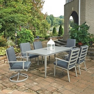 South Beach 7 Pc. Rectangular Outdoor Dining Table with 4 Arm Chairs & 2 Swivel Rocking Chairs by Home Styles