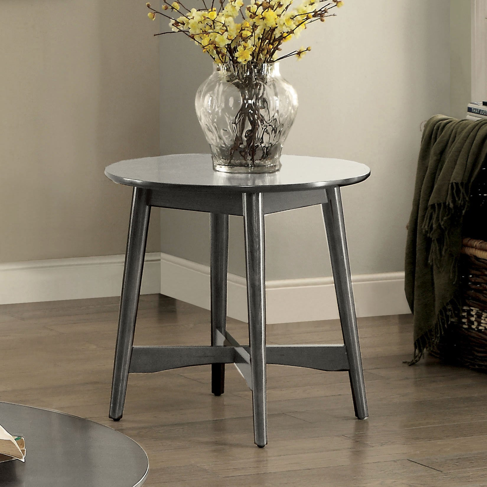 Oliver Mid Century Modern Ash Brown Round End Table By Foa