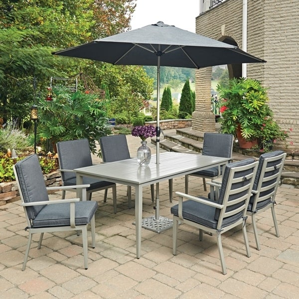 South Beach 9 Pc. Rectangular Outdoor Dining Table; 6 Chairs with Umbrella  & Base by Home Styles