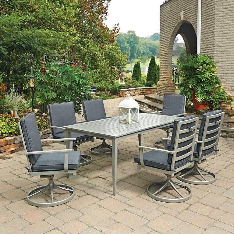 South Beach 7 Pc. Rectangular Outdoor Dining Table& 6 Swi...