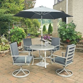 South Beach 7 Pc. Round Outdoor Dining Table& 4 Swivel Rocking Chairs, with Umbrella & Base by Home Styles|https://ak1.ostkcdn.com/images/products/14230118/P20821396.jpg?impolicy=medium