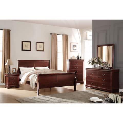 Acme Furniture Louis Philippe Cherry 4-Piece Sleigh Bedroom Set