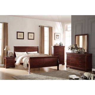 Acme Furniture Louis Philippe Cherry 4-Piece Sleigh Bedroom Set