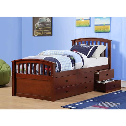 Donco Kids Twin 6 Drawer Storage Bed in Dark Cappuccino or White