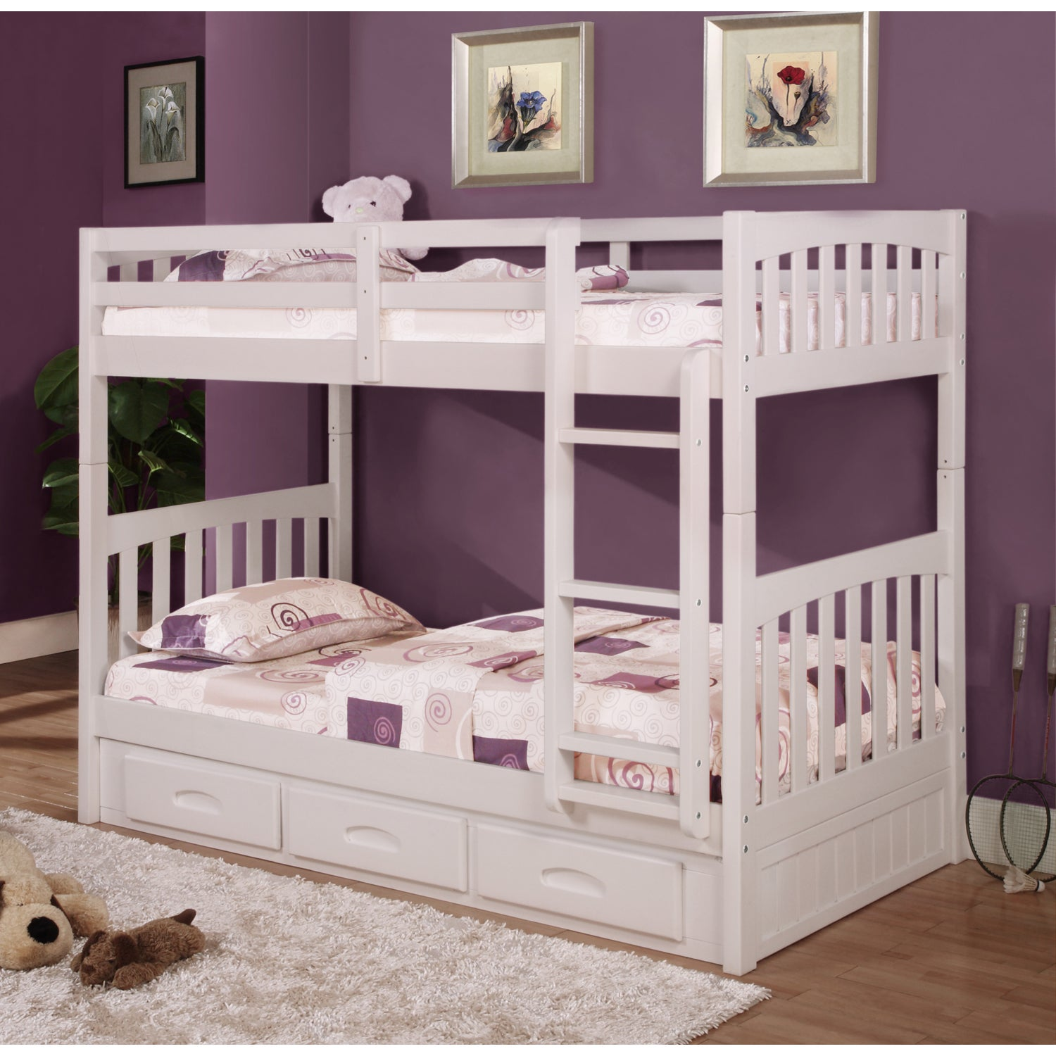 Donco Kids Twin over Twin Mission Bunk Bed in White with ...