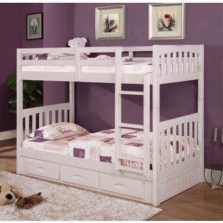 Donco Kids Twin over Twin Mission Bunk Bed in White with 3 Drawer Storage