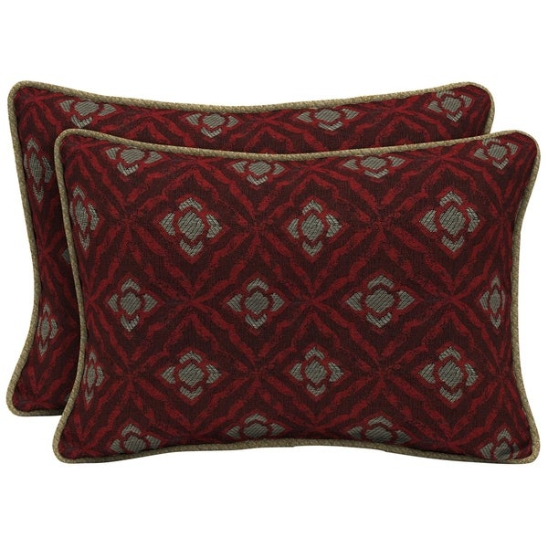Bombay Outdoors Geo Floral Berry Oversize Lumbar Pillow with Welt 2-Pack