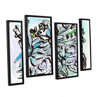 Linda Woods's 'Beach Glass Flowers 2' 4 Piece Floater Framed Canvas Staggered Set