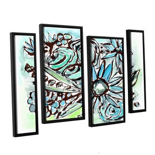 Linda Woods's 'Beach Glass Flowers 1' 4 Piece Floater Framed Canvas Staggered Set