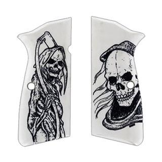 Hogue Browning Hi-Power Scrimshaw Ivory Polymer Grip Panels Grim Reaper