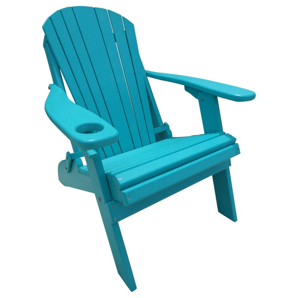 Poly Lumber Wood Folding Adirondack Chair with Cup Holder...