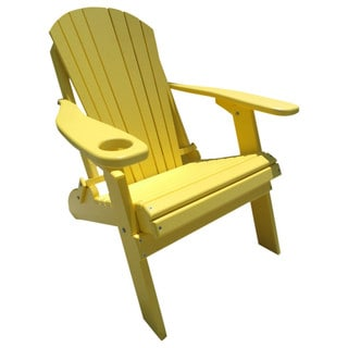 Poly Lumber Wood Folding Adirondack Chair with Cup Holder