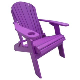 Poly Lumber Wood Folding Adirondack Chair with Cup Holder (Option: Purple)