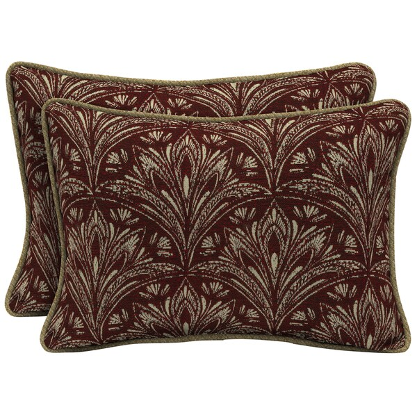 Bombay Outdoors Red Oversize Lumbar Pillow with Welt (Set of 2)