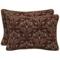 Bombay Outdoors Royal Zanzibar Berry Oversize Lumbar Pillow with Welt (Set of 2)