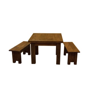 Barn Wood Style Timber Peg Children's Table with 2 Benches- Amish made