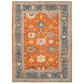 Herat Oriental Afghan Hand-knotted Vegetable Dye Oushak Wool Rug (13'8 x 18'9)