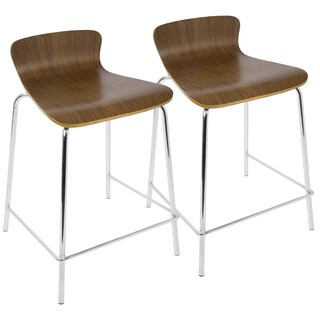 LumiSource Bentwood Stackable Contemporary Counterstools (Set of 2) (Option: Walnut)