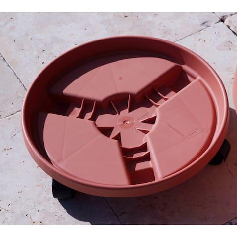 Bloem Round Plant Caddie Saucer, 16-inch, Terra Cotta