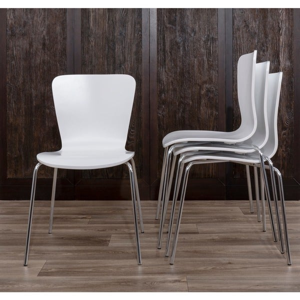 Delicieux LumiSource Woodstacker Contemporary White Dining Chairs (Set Of 4)