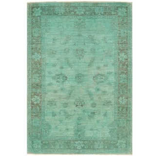 Herat Oriental Afghan Hand-knotted Over-dyed Oushak Wool Rug (4'1 x 6')