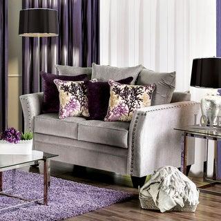 Furniture of America Liaz Contemporary Grey Chenille Nailhead Loveseat