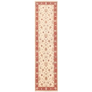Herat Oriental Afghan Hand-knotted Vegetable Dye Oushak Wool Runner (3'4 x 13')