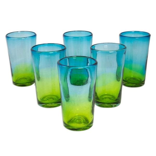 Handmade Blown Glass Aurora Tapatia Highball Glasses , Set of 6 (Mexico)